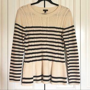 Talbots sweater striped cream & blue peplum style